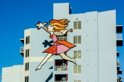 Somewhere in Miami this colorful artwork is happily hanging on the side of an apartment building! Photo by Andrea O'Connell, 2012